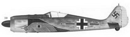 10.Fw-190A-4 «черные прямоугольник и стрела» командира JG-2 «Рихтгофен» подполковника Вальтера Оесау, Бюмон-ле-Рож, предположительно февраль 1943г.