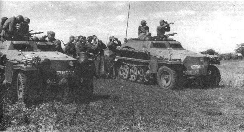 """Бронетранспортеры Sd.Kfz.250 разведывательного батальона моторизованной дивизии """"Великая Германия"""". Восточный фронт. 1942 год"""