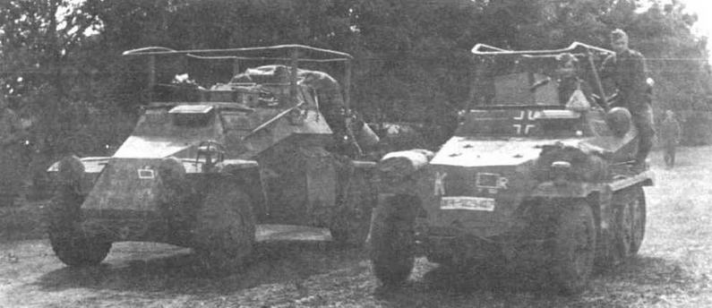 """Две штабные машины Вермахта: бронеавтомобиль Sd.Kfz.26l бронетранспортер Sd.Kfz.250/3. Буква """"К"""" на корпусе последнего говорит о принадлежности к <a href='https://arsenal-info.ru/b/book/4274175115/12' target='_self'>танковой группе</a> Клейста. Восточный фронт, 1941 год"""