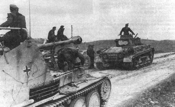 Marder III Ausf.M одной из частей венгерской армии, восточный фронт. 1944 год. На заднем плане — венгерские средний танк Turan II и бронеавтомобиль Csaba
