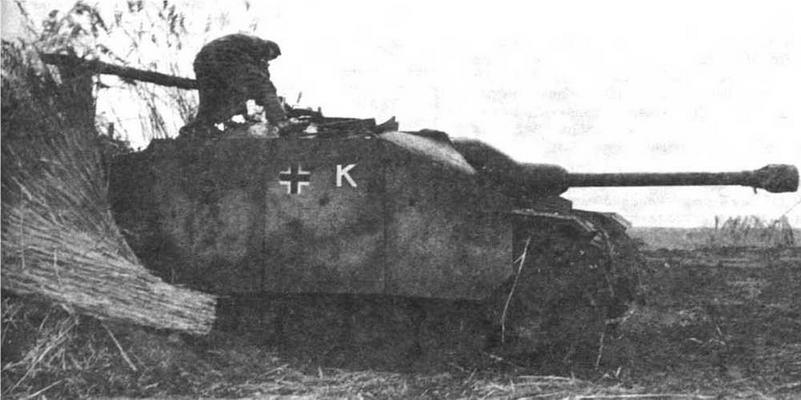 """StuG III Ausf.G поздних выпусков. с маской пушки типа Saukopf (""""свиное рыло""""). Восточный фронт. 1944 год"""