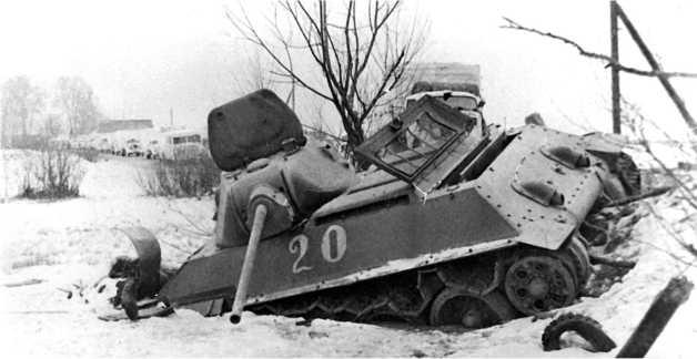«Танк-истребитель» Т-34 с 57-мм пушкой ЗИС-4, подбитый на подступах к Москве. 21-я танковая бригада, 1941 год.