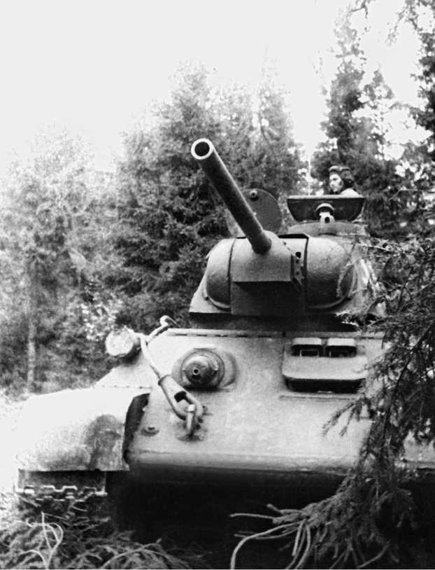 ТО-34 в засаде. 47-й отдельный огнеметный танковый полк. Прибалтика, октябрь 1944 года.