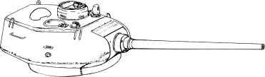 Башня завода «Красное Сормово» с пушкой Д-5Т. У первых выпущенных машин имелся только один башенный вентилятор.
