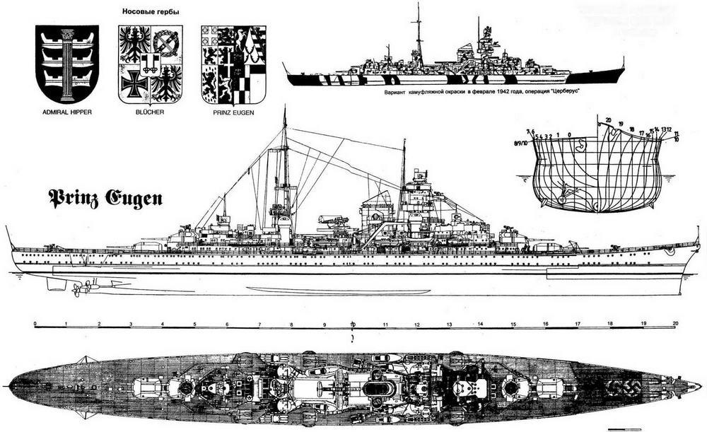 """Тяжелый крейсер """"Принц Ойген"""" в 1942 году"""