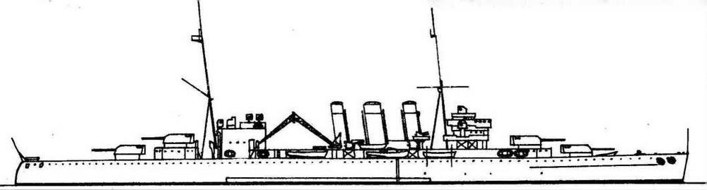 """Крейсер """"Бервик"""" (10600 Т, 31 уз., 8 203/50, 8 102 зен., 2x8 '40, пояс 114, палуба 35-38, барбеты и башни 25 мм)."""