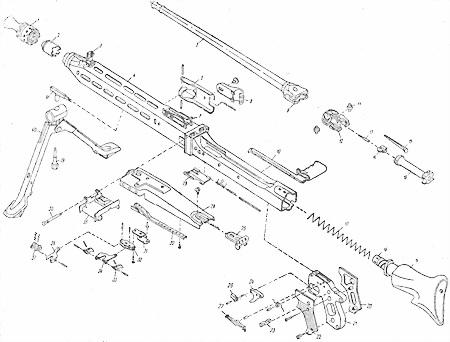 и сборки пулемета MG.42: 1