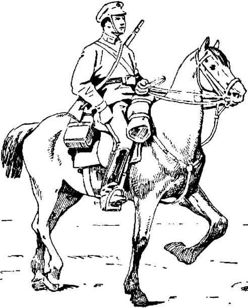 При хорошем уходе и корме лошадь у красноармейца бодра и вынослива
