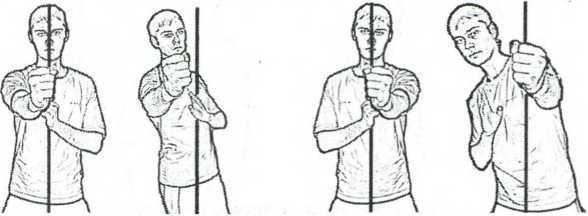 Рис. 2.18. Удар с уклоном и принцип защиты центральной линии