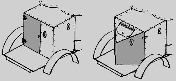 С дверью в плоском листе (слева).