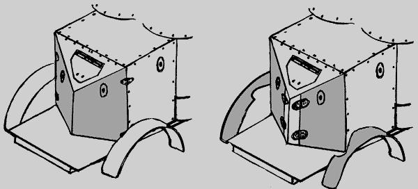 С коротким «клином» и петлями, установленными на бортах корпуса (слева).
