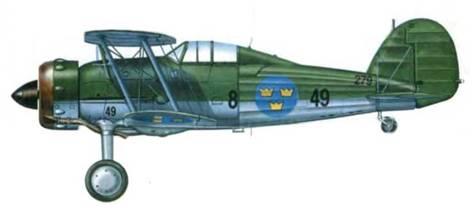 Шведы классифицировали свои «Гладиаторы Mk I» как J-8. Этот самолет (8-49/ 279) служил в составе 8-й эскадрильи, Баркабю, конец 1937 года.