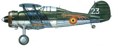 Бельгийский «Гладиатор Mk. I» из I-й эскадрильи «Кометы». Эскадрилья базировалась на аэродроме Шаффен-Дист с 1938 года. В первые же дни активных боевых действий в мае 1940 года часть была полностью уничтожена.