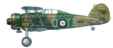 «Гладиатор Mk I» (YK-O/L80U) летного офицера Мармадьюка Ст.— Дж. Паттла, 80-н эскадрилья, Амрия, Египет, 1940 год. Паттл заявил 15,5 побед, летая на «Гладиаторе». 20 апреля 1941 года он погиб в Греции, имея к тому времени на боевом счету около 50 побед.