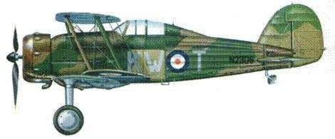 «Гладиатор Mk II» tKW-T/N2308), 615-я эскадрилья. 29 декабря 1939 года этому самолету удалось повредить Не 111. В числе немногих «Гладиаторов», этот само-. лет вернулся из Франции в Англию.