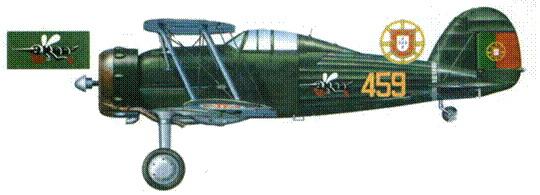 «Гладиатор Mk II» (459) португальских ВВС из 1-й экспедиционной эскадрильи, отправленной на Азорские острова в августе 1941 года. На фюзеляже изображена эмблема эскадрильи.