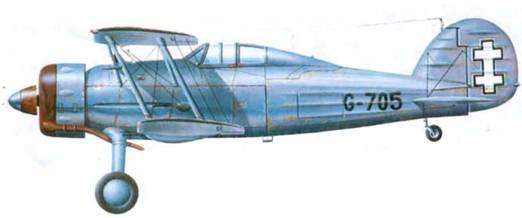 Глостер «Гладиатор Mk I» (G- 705) литовских ВВС, 1937 год. Весь самолет серебристый (Aluminum Dope), верхняя сторона верхнего крыла темно-зеленая. Опознавательные знаки только на руле направления.