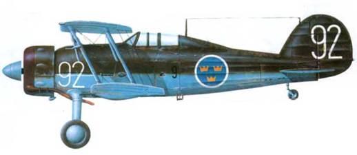 Глостер «Гладиатор Mk. I»/.1-Н («292», F9-92, бывший FH-32), аэродром Саве, 1940 год. Верхний камуфляж оливково-зеленый, нижний серо-голубой.