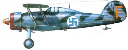 Глостер «Гладиатор Mk. I»/J-8 («284», «F» F19), Финляндия, январь-февраль 1940 года. Шведский камуфляж дополнен нерегулярными серебристыми полосами.