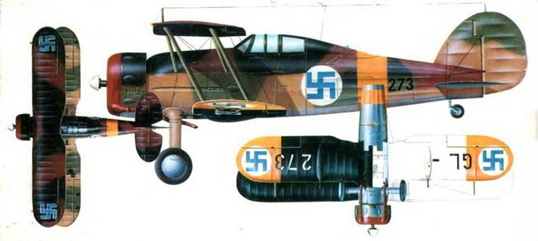 """Глостер «Гладиатор Mk II» (GL-273) из 1/LeLv 16, Хиаръярви, август 1941 года. Камуфляж типа """"Shadow Shading»: Dark Green/Dark Earth на верхней стороне фюзеляжа и верхней стороне верхнего крыла. Light Green/Light Earth на верхней стороне нижнего крыла и нижней части фюзеляжа. Нижняя сторона нижнего крыла: слева белая, справа черная. Днище фюзеляжа и нижняя сторона хвостового оперения серебристые."""