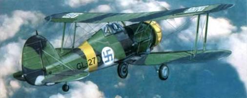 Один из финских «Гладиаторов Mk II» (GL-27). Самолет позднее летал в составе I/LeLv 16, которая в августе 1942 года базировалась в Соломанни. Самолет участвовал в боях на Карельском фронте.