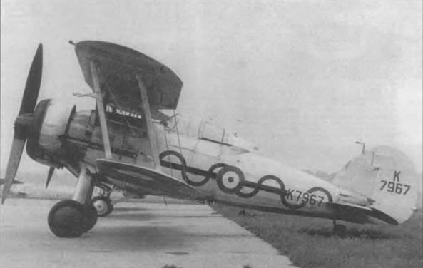 «Гладиатор Mk I» (K7967) из 87-й эскадрильи Королевских ВВС, Дебден, Англия, июнь 1937 года. Эскадрилья к 1938 году располагала 19 «Гладиаторами». До осени 1938 года самолеты были серебристого цвета (FS 17178). Машины 87-й эскадрильи отличались по горизонтальной черной полосе на фюзеляже с зеленой (Bright Green FS14I87) «волной». Самолеты оснащались двухлопастным деревянным винтом «Уоттс». Кок винта часто с самолетов снимали. На левой распорке крыльев установлена трубка Пито.