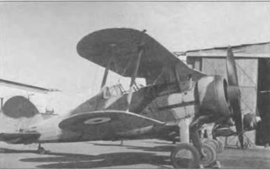 «Гладиатор Mk I» вероятно из 80-й эскадрильи, Исмаилия, Египет, 1940 год. Верхний камуфляж Dark Green/Light Earth, нижний Aluminum. Серийный номер закрашен. В эскадрилье начат камуфлировать самолеты после того, как 10 июня 1940 года Италия объявила Великобритании войну.