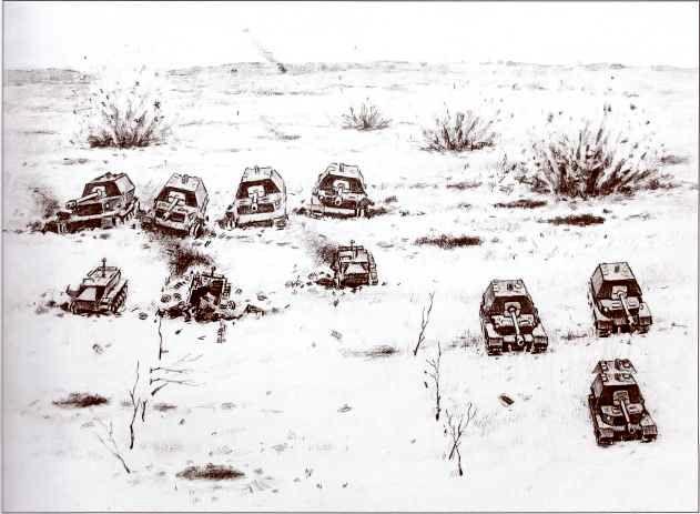 Атака «Фердинандов» 654-го батальона тяжёлых истребителей танков через минное поле 5 июля 1943г. Реконструкция Д. Базуева.