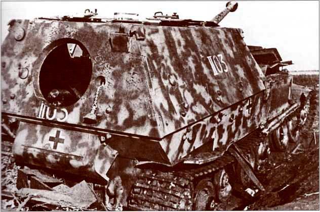 В кормовом листе «Фердинанда» № II-03 люк для аварийного покидания самоходки членами экипажа оставался закрытым вплоть до захвата машины красноармейцами. На этом фото через открытый люк хорошо виден боезапас, превышающий обычное количество выстрелов.