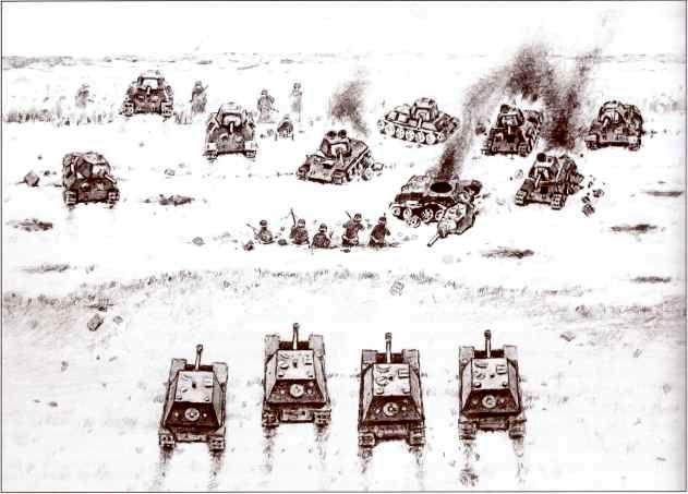 Бой у Мирополя 25 ноября 1943г. по описанию Ганса Киншерманна. Реконструкция Д. Базуева.