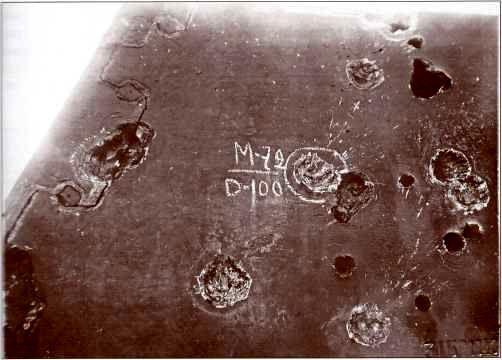 Вмятина от попадания снаряда М72 пушки М3 в рубку «Фердинанда».