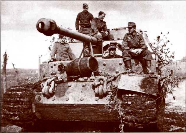 """Один из """"Элефантов"""" 1-й роты 653-го батальона, воевавшей на Анцио-Неттунском плацдарме весной 1944г. Курсовой пулемёт зачехлён, рядом с ним на лобовой броне лежит винный бочонок."""