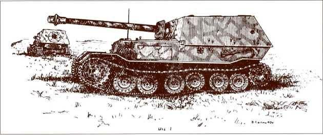 В этом рисунке содержится ошибка — ящик для инструментов изображён на левом борту корпуса «Фердинанда», хотя они монтировались на правый.