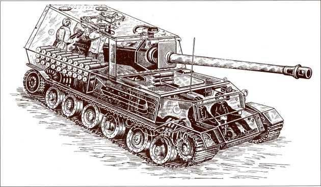 Любопытная деталь этого рисунка «Фердинанда» в проекции — на головах членов экипажа самоходки художник изобразил советские танкошлемы обр. 1937г.