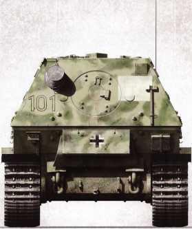 Корма «Фердинанда» №101 командира 1 — й роты 653-го батальона тяжелых истребителей танков гауптмана Иоганна Шпильмана. Хорошо заметны ящик для инструментов и закрепленные экипажем на броне самоходки кувалда и таз. Подобное оснащение было нетипично для «Фердинандов».