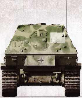 «Фердинанд» №102 (командир — гауптфельдфебель Фриц Мадаус) 1-й роты 653-го батальона тяжелых истребителей танков, на что указывает тактический знак на корме.