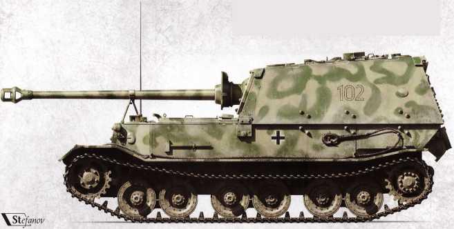 Эта самоходка в числе прочих, уцелевших на Курской дуге в 1943г., была модернизирована, но бесславно закончила свой боевой путь в Италии 24 мая 1944г., выгорев изнутри.
