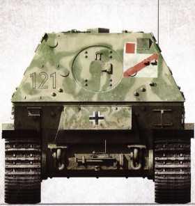 Корма «Фердинанда» №121 (командир — лейтенант Герман Лок) 1-й роты 653-го батальона тяжелых истребителей танков. Самоходка, уже став «Элефантом» после модернизации, была потеряна 7 июня 1944г. в Италии, разрушив собственным весом обветшавший каменный мост.