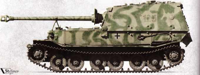 «Фердинанд» №123 (командир — вероятно, унтер-офицер Вернер Кюль) 1-й роты 653-го батальона тяжелых истребителей танков.