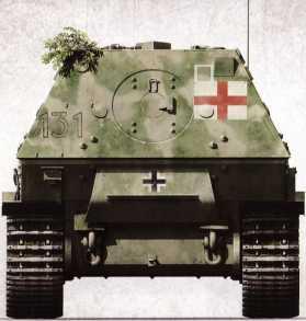 Корма «Фердинанда» №131 (командир — вероятно, фельфебель Густав Косс) 1-й роты 653-го батальона тяжелых истребителей танков. Хорошо заметен элемент военно-полевого декора — связка растений, закрепленная на левом верхнем углу кормы. Самоходка была потеряна 2 марта 1944г. в Италии. Ввиду повреждения ходовой части её уничтожили сами немцы.
