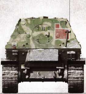 Корма «Фердинанда» №234 2-й роты 653-го батальона на Никопольском плацдарме осенью 1943г.— на это указывают тактическое обозначение Pampas в левом нижнем углу бронелиста и припорошивший самоходку снег. Самоходка уцелела в тех боях, была отремонтирована и модернизирована, и летом 1944г. под командованием унтер-офицера Петера Конса участвовала в отступлении с территории Украинской ССР.