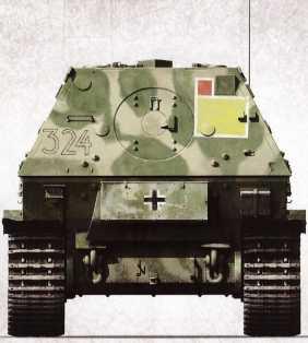 Корма «Фердинанда» №324 (командир — вероятно, унтер-офицер Вилли Петри) 2-го взвода 3-ей роты 653-го батальона. Июль 1943г.