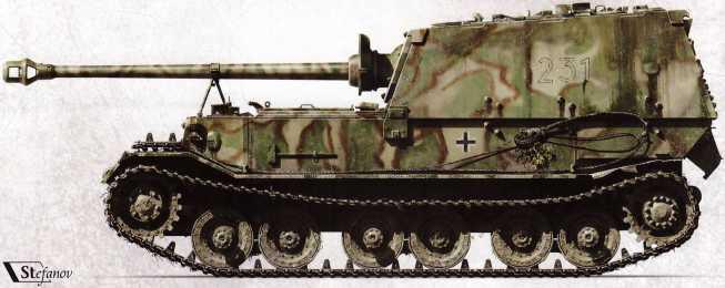 «Фердинанд» №231 (командир — вероятно, оберфельдфебель Фридрих Мейген) 2-й роты 653-го батальона. Июль 1943г. Необычен трехцветный камуфляж — в ходе операции «Цитадель» он был нанесен на броню лишь этой самоходки.