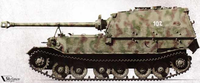 «Элефант» №102, вид сбоку. Хорошо заметен курсовой пулемет, которыми самоходки оснастили в ходе модернизации. №102 был подбит и брошен из-за пожара в машинном отделении 24 мая 1944г. Впоследствии союзники эвакуировали его в США.