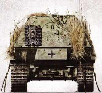 «Элефант» №332 3-й роты 653-го батальона тяжелых истребителей танков, Апрель 1944г., район Тарнополя. Ротное обозначение закрыто маскирующим хворостом.