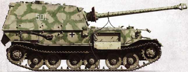 «Фердинанд» №501 штаба 5-й роты 654-го батальона тяжелых истребителей танков после подрыва на противотанковой мине. Крышка пустующего ящика для инструментов открыта, стопор для крепления ствола орудия опущен.