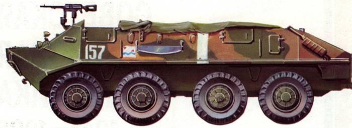 Бронетранспортер БТР-60П одной из частей морской пехоты. Учения «Юг», апрель 1971 года.
