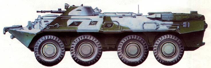 Бронетранспортер БТР-80 в зимнем камуфляже, 1990 год.