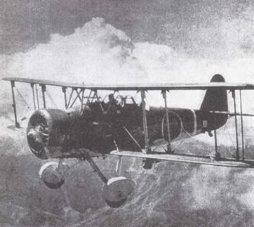 Палубный бомбардировщик Тип 96 (D1A2) в полете. Пилоты пикирующих бомбардировщиков Императорского флота использовали эти машины и в качестве учебных, и как боевые во время операций в Китае. До появления Тип 99 (D3A) это был основной пикирующий бомбардировщик флота. (Эдвард М. Йонг)