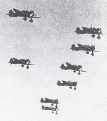 Чутай (группа) истребителей Тип 96 «Кансен» в полете, период войны в Китае. Сотай (звено) в отдалении, похоже, недосчиталось одного самолета. (Эдвард М. Йонг)